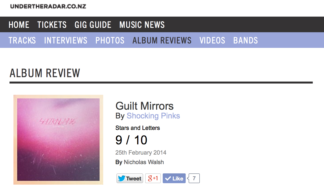 Under The Radar gives Shocking Pinks a 9 out of 10